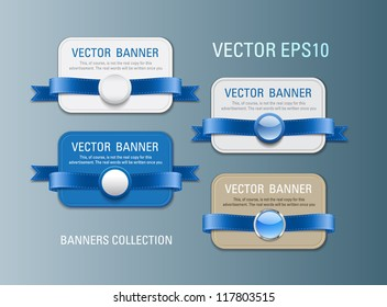 A set of horizontal vector promo banners decorated with blue ribbons and various plastic round seals