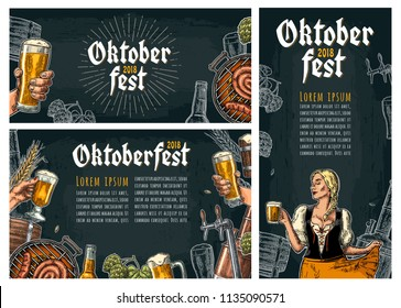 Set horizontal, vertical posters to oktoberfest festival. Beer tap, hop, barrel, barbecue, male hold glass and girl wearing Bavarian dress dirndl. Vintage vector engraving illustration on dark