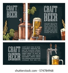 Set horizontal, vertical and square and posters for craft beer.Vintage vector engraving illustration on dark background.