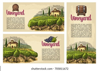 Set horizontal, vertical and square posters or labels for wine. Rural landscape with villa, vineyard fields and hills. Vector engraving drawn vintage illustration. Old paper beige texture background.