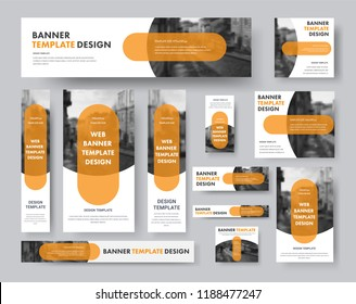 set of horizontal, vertical and square web banners with semi-circular elements for a photo and a transparent orange plate. Design white templates for sites.