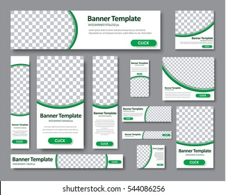 set of horizontal, vertical and square web banners in standard sizes. Templates with a place for a photo. Vector illustration