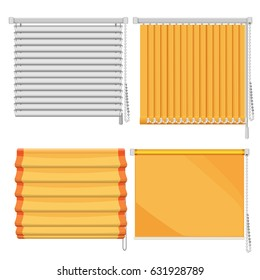 Set of horizontal and vertical window blinds vector illustration