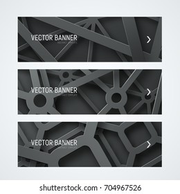 Set of horizontal web banners. Templates with interwoven cobwebs from metal chrome lines and shapes. Vector illustration