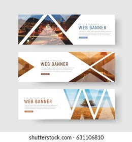 set of horizontal white banners with triangular shapes for a photo. Universal template for a web site with text, buttons and transparent elements. Photo of a mosaic for a sample.