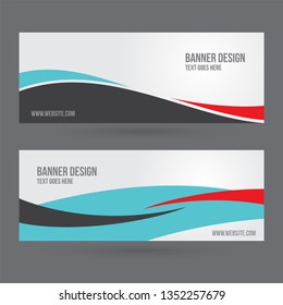 set of horizontal white banners with waves for a photo. Universal template for a web site with text, buttons and transparent elements. - Vector