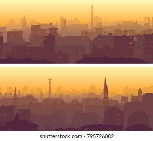 Set of horizontal wide banner of big city with roofs and windows of buildings in downtown.
