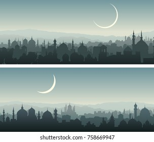 Set of horizontal wide banners of arab city with mosques at night.