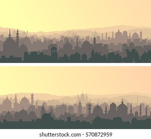 Set of horizontal wide banners of muslim city with mosques at sunset.