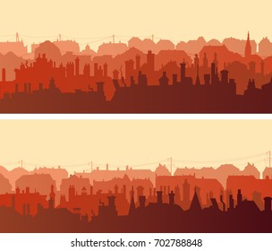 Set of horizontal wide banners of old historic European with numerous chimney flues.