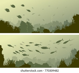 Set of horizontal wide banners of seabed with coral reefs, algae and school of fish.