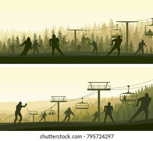 Set of horizontal wide banners skiers in misty hills of coniferous forest (green tone).