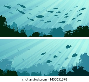 Set of horizontal wide banners of underwater in rays of sun and seabed with coral reefs, algae and school of fish.