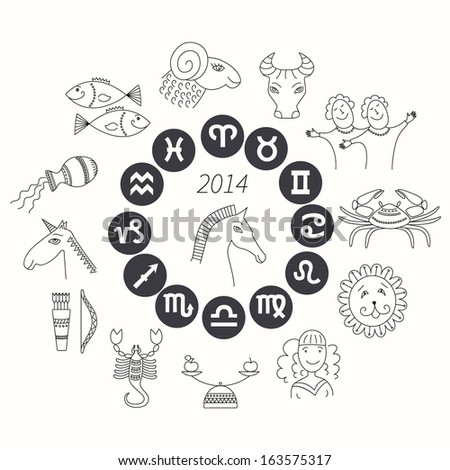 Set Horoscope Symbols Zodiac Signs On Stock Vector Royalty Free