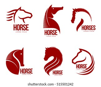 Set of horse head graphic logo templates, vector illustration on white background. Set of black and white stylish horse heads for stable, farm, race logo design