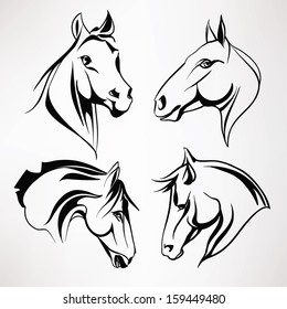 A set of horse heads. Vector illustration