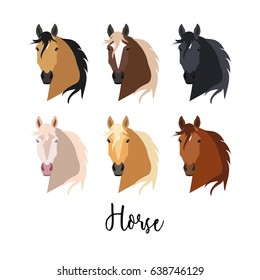 Set of Horse. Isolated vector painted in a flat style on a white background. Pretty horse. animal. Year of the Horse. Chinese horoscope. Head of a horse, long mane.