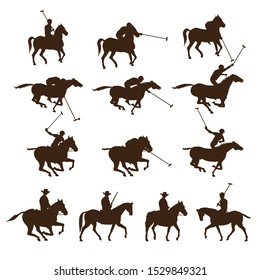 Set of horse polo players. Images of riders silhouettes. Vector illustration isolated on white background
