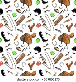 Set of horse riding tack tool on white. Seamless pattern with snaffle, bit, hat, bridle, saddle, brush, stirrup, whip, high boot. Vector cartoon hand drawn illustration.
