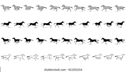 Set of Horse Run Cycle