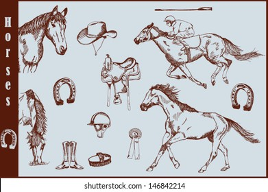 Set of horses and horse riding equipment. Hand drawn vector. Eps10.