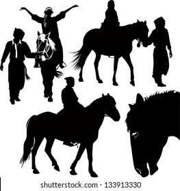set of the horses and riders isolated on white background
