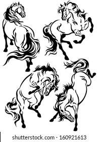 set of horses tattoo, black and white illustration