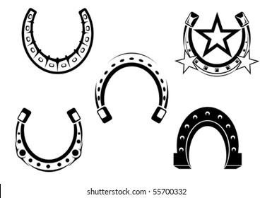 Set of horseshoes elements - also as emblem or logo template