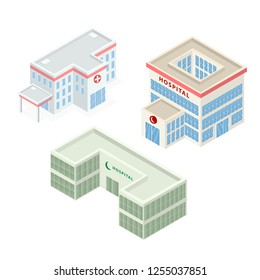 Set of Hospital Building Isometric Vector Flat 3D illustration