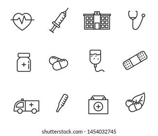 Set of hospital and medicine related vector illustration with simple line design suitable for icon or doodle