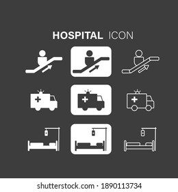 Set of hospital vector white icons, black icons and white line icons on black background. Vector illustration can be used for topics like healthcare, hospital, medical care.