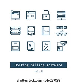Set of Hosting Billing Software Vector Icons