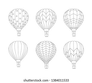 Set of Hot air balloon  isolated on white background. Vector