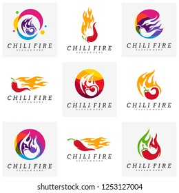 Set of Hot Chili logo design vector. Chili with fire logo concepts. Food logo template