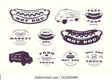 Set of hot dog emblems and logos. Isolated on white background