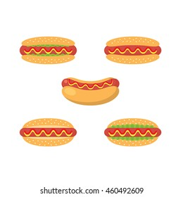 A set of hot dog icons in flat style