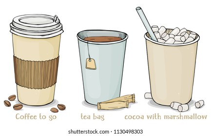Set with hot drinks in paper cups to take away. Coffee, tea bags and cocoa with marshmallow. Colorful vector illustration on white background.