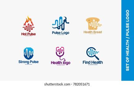Set of Hot Pulse logo, Pulse symbol, Health Bread logo, Strong pulse, Pulse Search logo designs concept