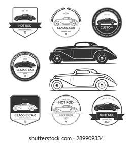 Set of hot rod, classic, vintage car service labels, emblems, logos, badges. Black vector design elements isolated on white background