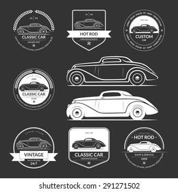 Set of hot rod, classic, vintage car service labels, emblems, logos, badges. White vector design elements isolated on dark background