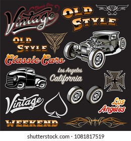 Set of Hot Rod logo, emblems and icons.  illustration isolated on black background.