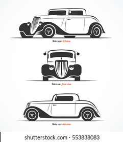 Set of hot rod or vintage custom sports car silhouettes. Front, side and 3/4 view. Vector background.