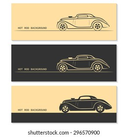Set of hot rod vintage retro sports car silhouettes / outlines /contours. Vector illustration
