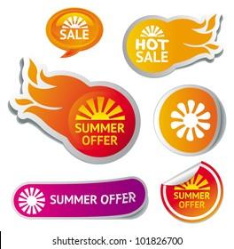 set of hot summer sale stickers - vector illustration