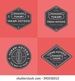 Set of Hotdog Badges, banners, emblem and logo templates for restaurant. Outline design. Minimal design. Fast food logo design. Vector illustration.