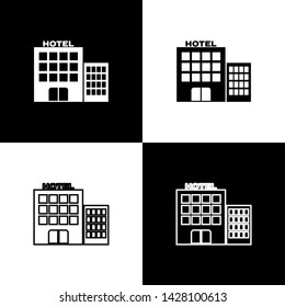 Set Hotel building icon isolated on black and white background.  Vector Illustration