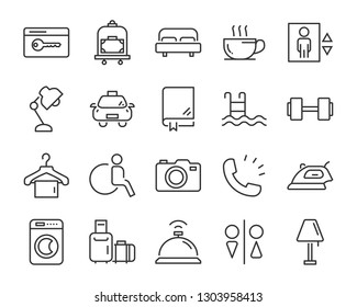 set of hotel icons, such as  dormitory, apartment, bed, room, service, hostel, park