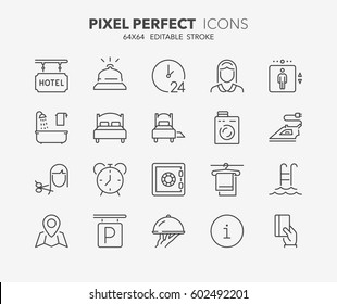 Set of hotel service amenities thin line icons. Contains icons as cleaning service, room service, hairdressing, ironing, laundry and more. Editable vector stroke. 64x64 Pixel Perfect.