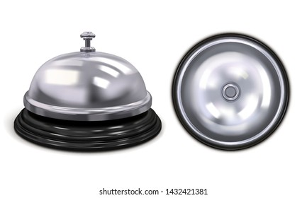 Set hotel service bell silver color. Front and top view. Vector illustration isolated on white background.