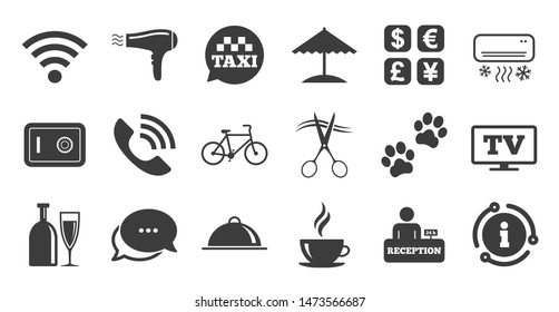 Set of Hotel services icons. Information, chat bubble icon. Phone call, Wifi internet and Currency exchange signs. Coffee, Wine bottle and Air conditioning symbols. Quality set. Vector